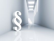 Paragraph. Rendering of a white paragraph symbol in a corridor Stock Photo