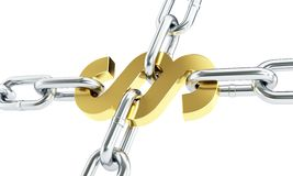Paragraph gold chain links on a white background Stock Image