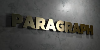 Paragraph - Gold sign mounted on glossy marble wall  - 3D rendered royalty free stock illustration Stock Photo