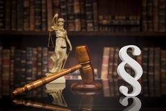 Paragraph, law and justice concept, wooden gavel, mirror backgro. Court gavel,Law theme, mallet of justice, Paragraph, mirror background stock images