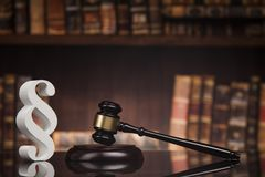Paragraph, law and justice concept, wooden gavel, mirror backgro. Court gavel,Law theme, mallet of justice, Paragraph, mirror background stock image