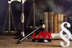 Mallet, Law, legal code and scales of justice concept and paragraph sign. Paragraph, law theme, mallet of judge, wooden gavel stock image
