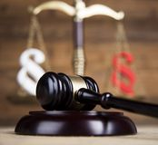 Mallet, Law, legal code and scales of justice concept and paragraph sign. Paragraph, law theme, mallet of judge, wooden gavel royalty free stock images