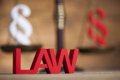 Mallet, Law, legal code and scales of justice concept and paragr. Paragraph, law theme, mallet of judge, wooden gavel Royalty Free Stock Photos