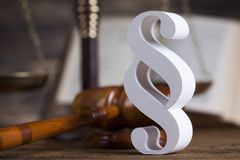 Mallet, Law, legal code and scales of justice concept and paragraph sign. Paragraph, law theme, mallet of judge, wooden gavel stock photos