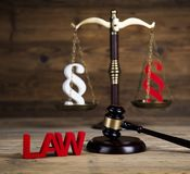 Paragraph sign, Wooden gavel barrister, legal system and justice. Paragraph, law theme, mallet of judge, wooden gavel stock images