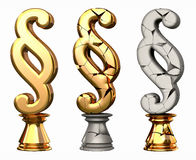 Paragraph. Sign as strong and broken law symbol in shape of a golden, cracked chessman Royalty Free Stock Image