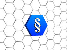 Paragraph sign in blue hexagon Stock Image