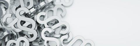 Paragraphsymbole auf weißem Boden stockfotos