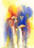 Paraguas amarillos en la acuarela de la lluvia Fotografía de archivo