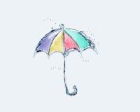 Paraguas coloreado del agua Foto de archivo