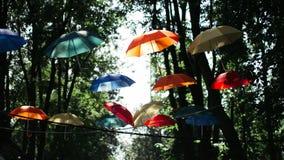 Paraguas coloreados que cuelgan en el parque en árboles Imagen de archivo