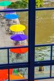Paraguas colorido del patio Imagen de archivo libre de regalías