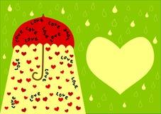 Paraguas con la tarjeta de la palabra del amor y del día de tarjetas del día de San Valentín de los corazones Fotos de archivo