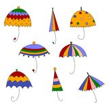 Paraguas. Conjunto de elementos decorativos Foto de archivo