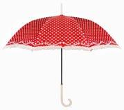 Paraguas curvado del rojo de la maneta Imagenes de archivo