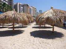 Paraguas de bambú tropicales en la playa arenosa en la bahía de la ciudad de ACAPULCO en México con los edificios del hotel imágenes de archivo libres de regalías