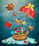 Paraguas de la Navidad ilustración del vector