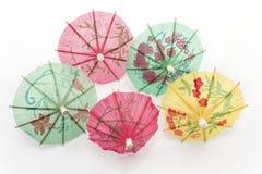 Paraguas de papel para el postre Foto de archivo libre de regalías