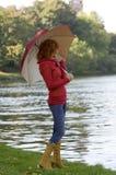 Paraguas del rojo y del yeallow imagen de archivo libre de regalías