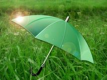 Paraguas en prado verde Imagen de archivo libre de regalías