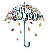 Paraguas estilizado del dibujo de la mano Imagen de archivo