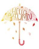 Paraguas estilizado del dibujo de la mano Foto de archivo