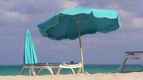 Paraguas famoso 4k la Florida los E.E.U.U. de la playa del sur de Miami del día de verano metrajes