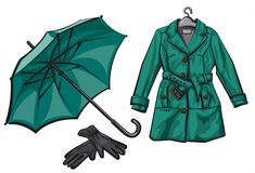 Paraguas, guantes e impermeable Imágenes de archivo libres de regalías