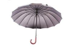 Paraguas negro con la manija de madera Fotografía de archivo libre de regalías