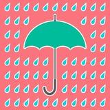 Paraguas retro y descensos Fotografía de archivo libre de regalías