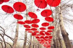 Paraguas rojos Fotografía de archivo