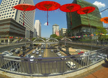 Paraguas rojos brillantes Foto de archivo libre de regalías