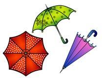 paraguas Sistema de paraguas multicolores Paraguas con los guisantes, paraguas en flor, paraguas púrpura ilustración del vector