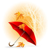 Paraguas y lluvia Autumn Icon Minimalistic Style Fotos de archivo