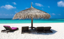 Paraguas y sol-sillas en la playa maldiva Imagen de archivo libre de regalías