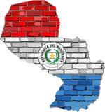 Paraguay översikt på en tegelstenvägg Arkivfoton