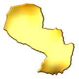 Paraguay 3d Golden Map. Isolated in white Stock Photography