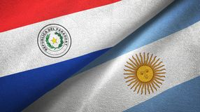 Paraguay and Argentina two flags textile cloth, fabric texture. Paraguay and Argentina flags together textile cloth, fabric texture royalty free illustration