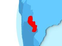 Paraguay auf blauer Kugel Lizenzfreies Stockbild