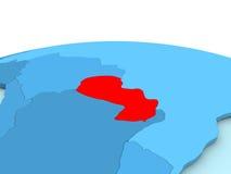 Paraguay auf blauer Kugel Stockfotografie