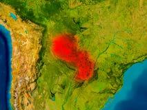 Paraguay auf körperlicher Karte Lizenzfreie Stockfotografie