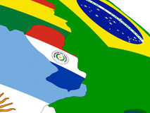 Paraguay auf Karte 3D mit Flaggen Lizenzfreies Stockbild