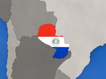 Paraguay auf Kugel Lizenzfreie Stockfotos