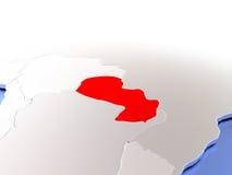 Paraguay auf Kugel Stockfoto