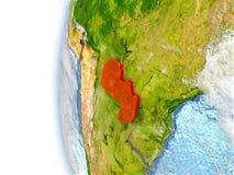Paraguay auf Modell von Erde Lizenzfreie Stockbilder