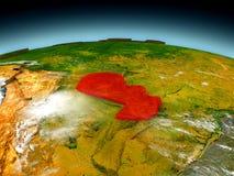 Paraguay auf Modell von Erde Stockfotografie