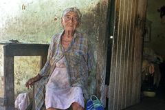 Old Paraguayan woman lives in great poverty stock photo