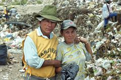 Love on garbage dump Paraguayan survival strategy. Paraguay, capital city Asuncion: a large part of the inhabitants, men and women, from the slum Banjado Sur royalty free stock photos