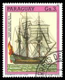 Battleship San Telmo. Paraguay - circa 1987: Stamp printed by Portugal, Color edition on 500th anniversary of the discovery of America, shows Battleship San Royalty Free Stock Photography